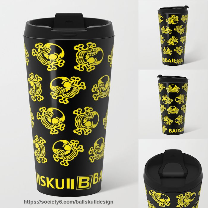 Bring your own Unique travel Mug. Reduce waste, make friends☕️ #travelmug #mug #BAllSKUll #toDiefor #bball #2die4 #beyondthearc #3points  #design #basketball #ball #hoop #skull #skullicious #バスケ #バスケットボール #スカル https://society6.com/ballskulldesign/s?q=popular+tabletop