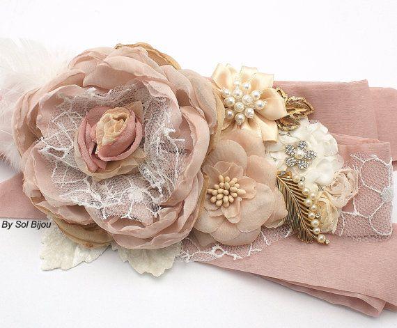 Bridal Sash Sash in Blush Pink Dusty Rose Champagne by SolBijou, $250.00