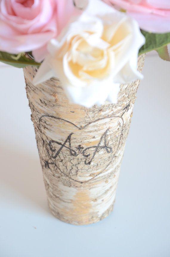 Personalized birch bark vase engraved wedding