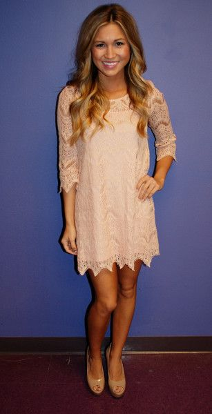 Cute pale pink lace dress-maybe too short though.