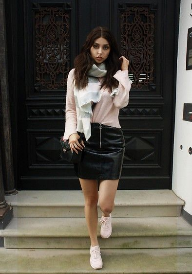 Get this look: http://lb.nu/look/8958834  More looks by Sarah Lyx: http://lb.nu/sarahlyx  Items in this look:  Primark Scarf, Primark Leather Skirt, Primark Sneakers   #chic #grunge #street #german #tanned #instagram #blogger #model #primark
