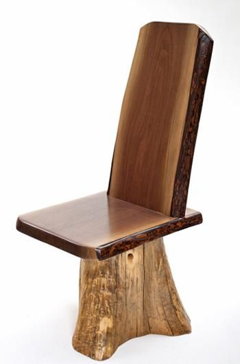 Rustic Black Walnut Dining Chair with Stump Base Item #DC06016 $595