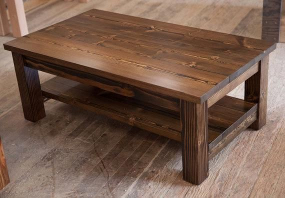 60 Coffee Table Solid Wood Farmhouse Coffee Table Rustic