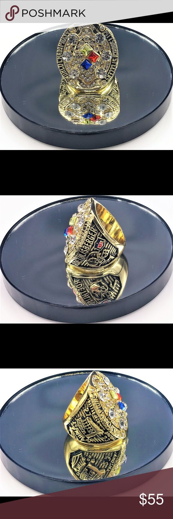 """Super Bowl 43 (XLIII) Replica Ring - Pitt Steelers Super Bowl 43 (XLIII) Replica Ring Pittsburgh Steelers 27 Arizona Cardinals 23 Feb. 1, 2009  """"Holmes Toe-drag to seal Title""""  Size 11 but meant for Collectible Souvenir. Perfect Gift for any true Pittsburgh Steelers Fan. Accessories Jewelry"""