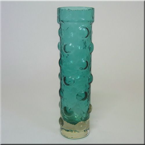 Riihimäen Lasi Oy / Riihimaki turquoise glass textured vase by Tamara Aladin, design number 1462, 180mm tall.