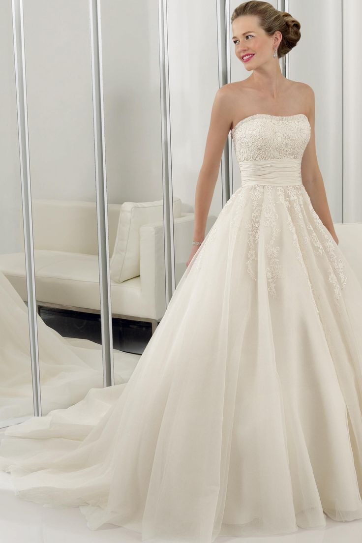 A-Line/Princess Sweetheart Chapel Tulle Bridal Gown  (from bestweddingdressprices.com)