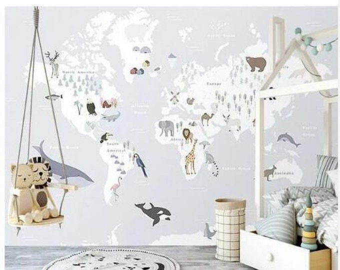 Cartoon World Map Wallpaper, Animal Cartoon Map Wall Mural, Wall Art,Wall Decal, Kids and Nursery Bedroom Wall Paper