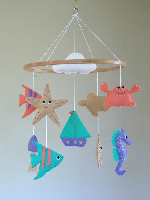 Nautical Baby Mobile  Cot Mobile   Nautical by ClooneyCrafts