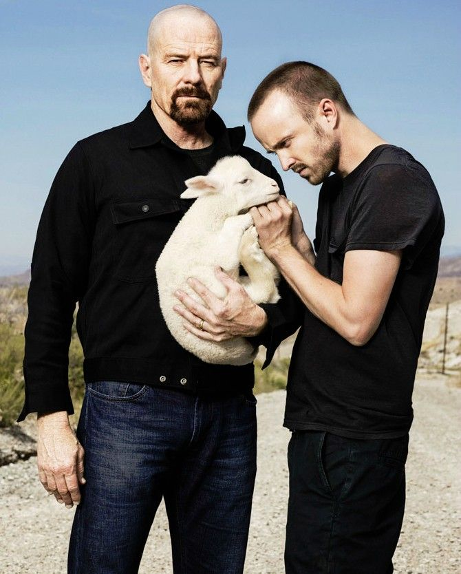Aaron Paul and Bryan Cranston from Breaking Bad. The show I cannot get enough of