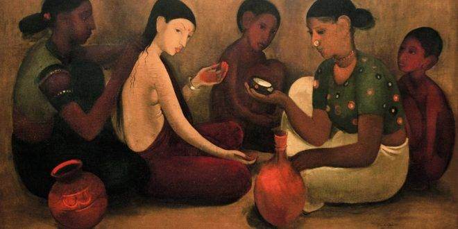 LEAN AND FRAGILE WOMEN, BY SAD LOOKING – Amrita Sher Gil: unbridled and bold colours, in direct contrast to the pale hues – Meeting Benches