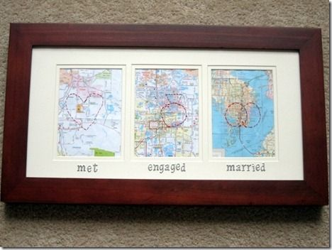 So cute!: Wedding Anniversaries Gifts, Gifts Ideas, Anniversaries Ideas, Cute Ideas, 1 Years, 1St Anniversaries, Marry Maps, Places, Anniversary Gifts