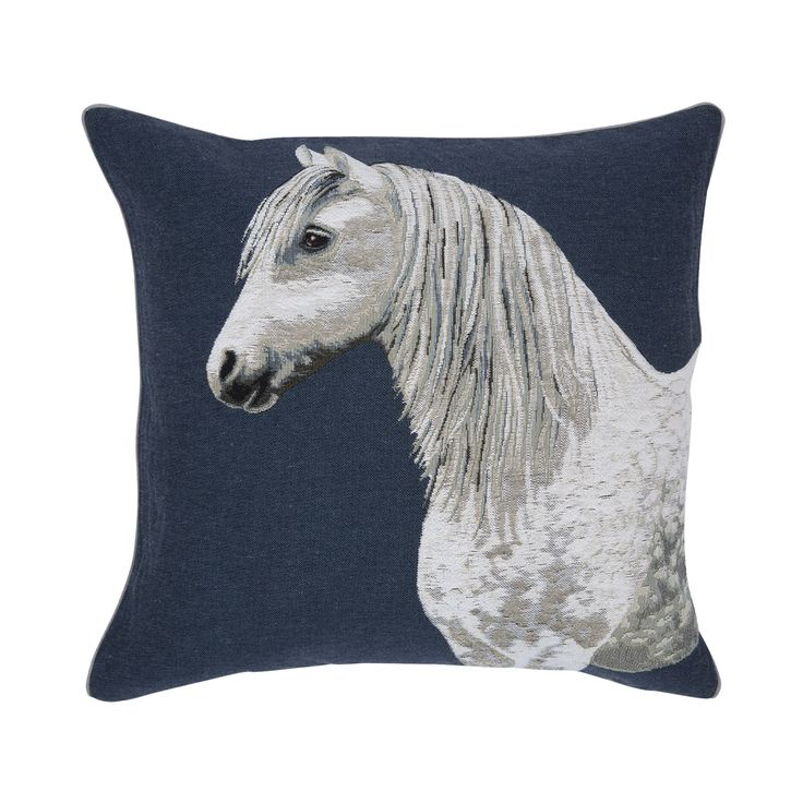Blue pillow with white horse, Iosis. http://www.facebook.com/kenisa.home