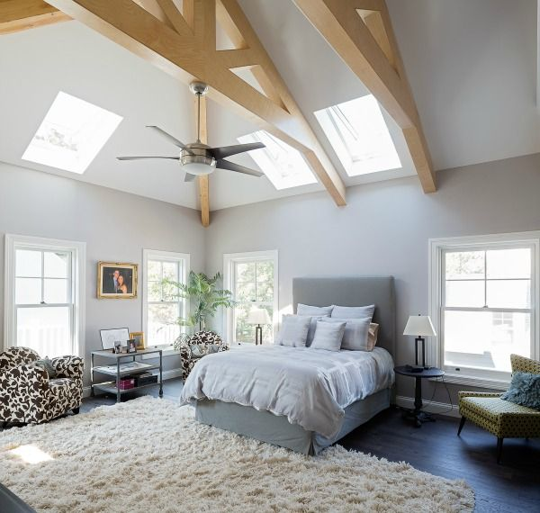 Master Bedroom With Skylight Large Windows Natural Light In Energy Efficient Custom Home Designed