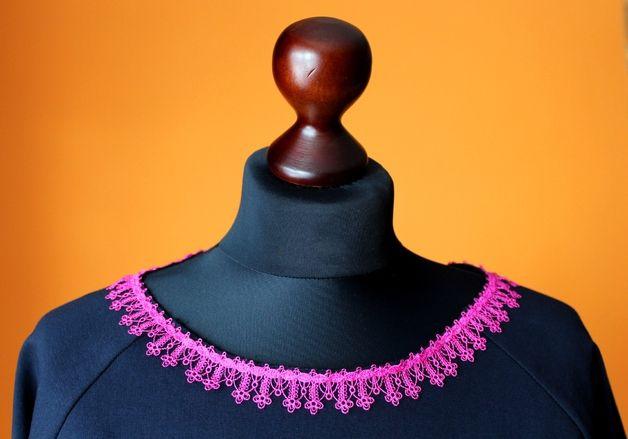 Bluza Dresowa Granat Koronka Róż S-L - RoomStyle - Bluzy