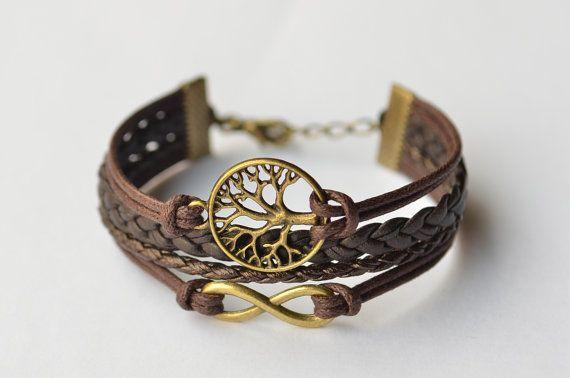 Brass Wishing Tree & Infinity Charm Bracelet Multiple Strand, Vintage bracelet, Gift, Blessing Bracelet