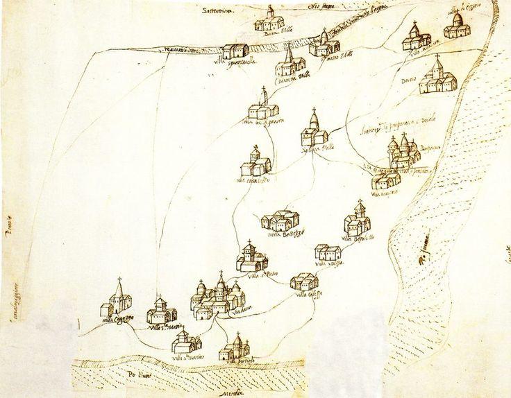 Cartografia del territorio Mantovano - Viadana - Archivio di Stato di Mantova - Archivio Gonzaga b.90 - c.57 -
