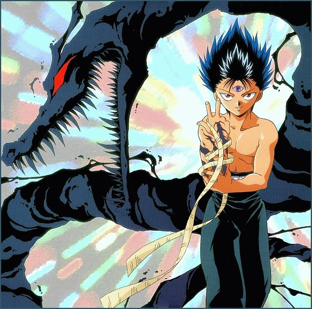 Hiei - yu yu hakusho. I find it kinda funny how he never kept his shirt on while fighting.