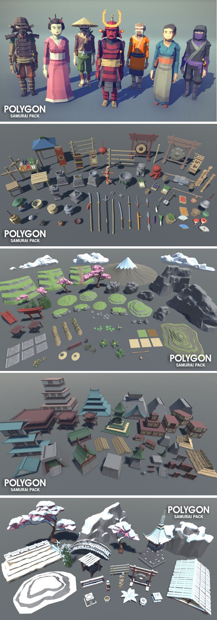 POLYGON - Samurai Pack A low poly asset pack of characters, buildings, props, items and environment assets to create a fantasy based polygonal style game.- Geisha - Samurai Grunt - Samurai Warrior - Sensei - Ninja - Village Man - Village Woman Unity 3D Asset Low Poly