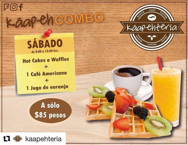 Nuestro #KáapehCOMBO de hoy #sábado está delicioso ya les esperamos a partir de las 8:00 de la mañana sirviéndoles un fresco y recién molido Café Americano unos hotcakes o waffles y un dulce jugo de naranja.  SERVICIO A DOMICILIO: (983) 162 1240.  #Promociones #KáapehCOMBO #Desayunos #Káapehtear #Káapehtería #TeHaceElDía #ConsumeLocal #Cafetería #Café #Alimentos #Postres #Pasteles #Panes #Cancún #Chetumal #México