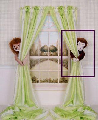 Plush Chocolate Brown Monkey Curtain Tieback