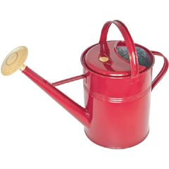 Haws code 196/2/BY, 8.8 Liters (2.3 US gallons). This is the classic traditional watering can that is instantly recognized as the Peter Rabbit design from the Beatrix Potter tales. Made by the time-honored methods that have made Haws famous, the cans are made from heavy gauge steel coated with galvanized zinc and then given a Burgundy Galva-Gard finish. Comes with a removable, round all brass spray rose.