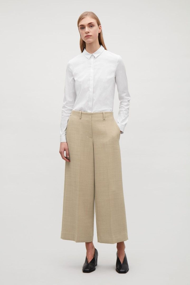 COS image 1 of Tailored wool culottes in Light beige