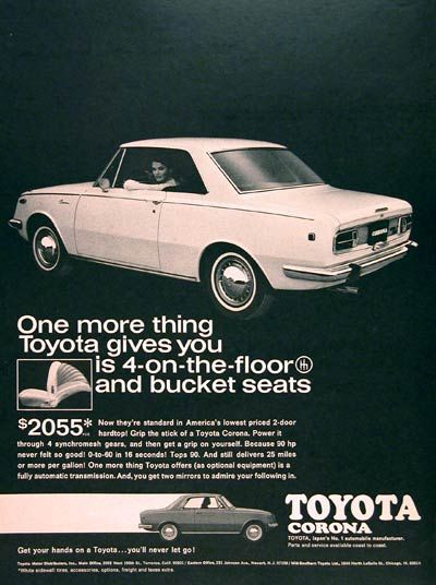 1968 Toyota Corona Coupe original vintage advertisement. America's lowest priced 2-door hardtop. With sychromesh transmission, 90 hp, 25 mpg and reclining bucket seats. Original MSRP starts at $2,055.
