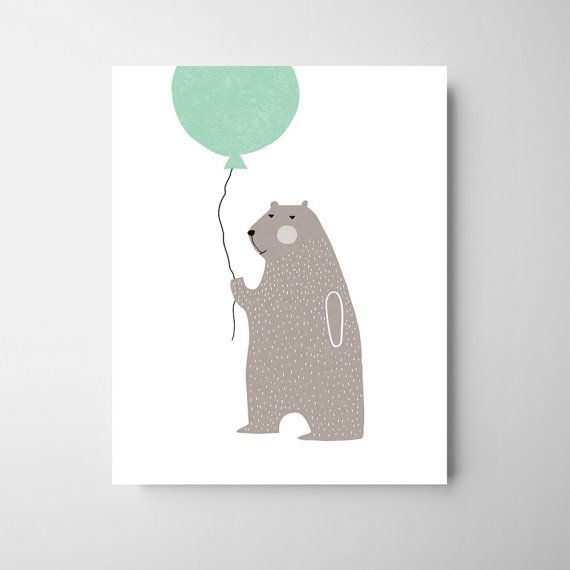 bear nursery illustration, animal art, carnival nursery, circus nursery, modern nursery print, Nursery scandi art