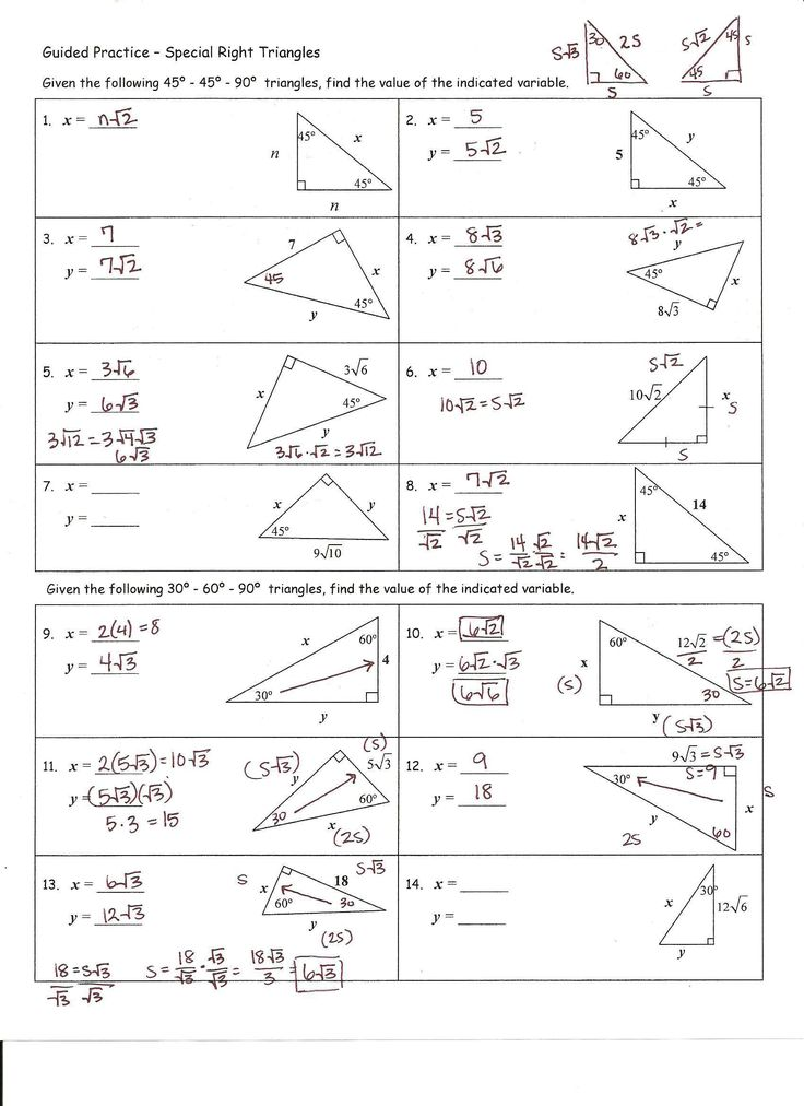 Practice Worksheet Special Right Triangles Answers Kidz ...