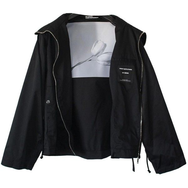 Pre-owned Raf Simons Jacket (22.580 CZK) ❤ liked on Polyvore featuring men's fashion, men's clothing, men's outerwear, men's jackets, black, men clothing jackets, mens oversized denim jacket, mens zipper jacket, mens thin jackets and mens hooded jackets