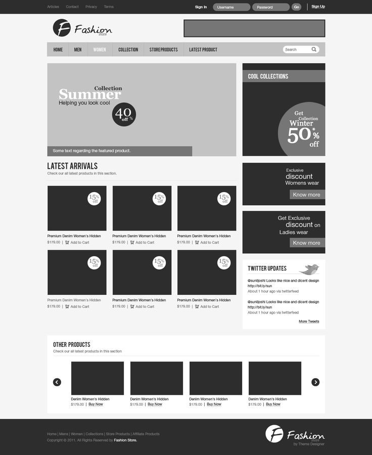 Sitemaps Examples Simple: Wireframe Of A Fashion Store Website