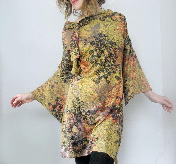 Metallic Gold Print Dress, Bell Sleeve Dress Drapey Gauzy Elegant Retro Style Shimmery Swirl Screen Print Dress Gold Party Dress