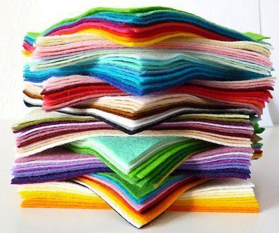 "12"" Colour PACK Premium Wool Blend Felt SQUARES 10 squares"