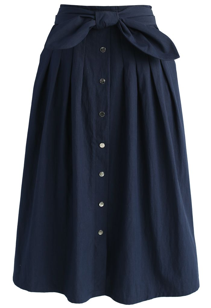 Bowknot Passion Midi Skirt in Navy - New Arrivals - Retro, Indie and Unique Fashion