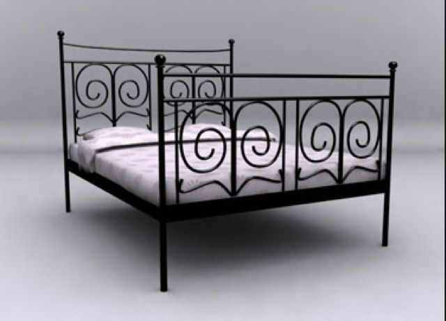 Black Kingsize Ikea Metal Bed Frame Inc Mattress On