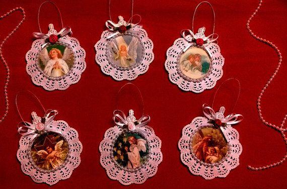 Lot de 6 ornements d'arbre de carte de Noël victorien de Style Vintage fait main - anges
