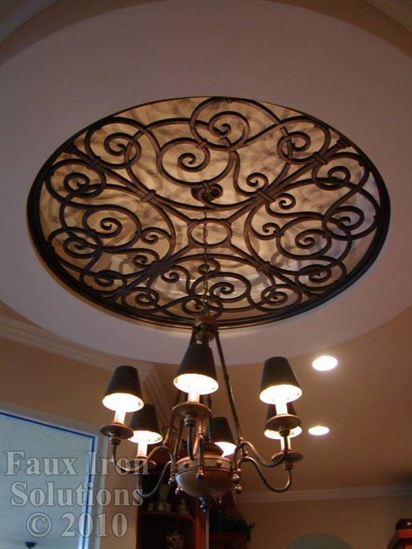 Beautiful faux iron ceiling medallion!   - love this Tableaux look