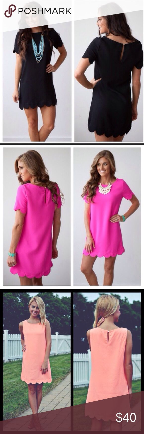 ❗️RESTOCK❗️ Summer Perfect Scalloped Mini Dress Brand new! Available in S (2-4) M (6-8) and L (10-12). In black and pink short sleeves or neon coral sleeveless. So essential for those summer parties and BBQ's! Sizes left: hot pink with sleeves: S M L. Sleeveless hot pink: S or L. Sleeveless coral: M or L. Black with sleeves: S M L. Dresses Mini