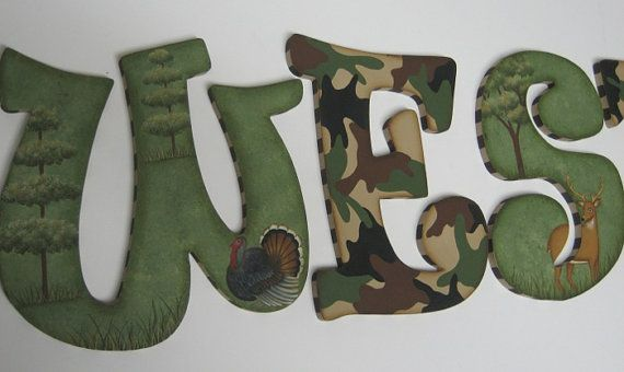 hunter baby shower | Camo Baby Nursery Handpainted Wall letters Hunting Outdoor Theme with ...