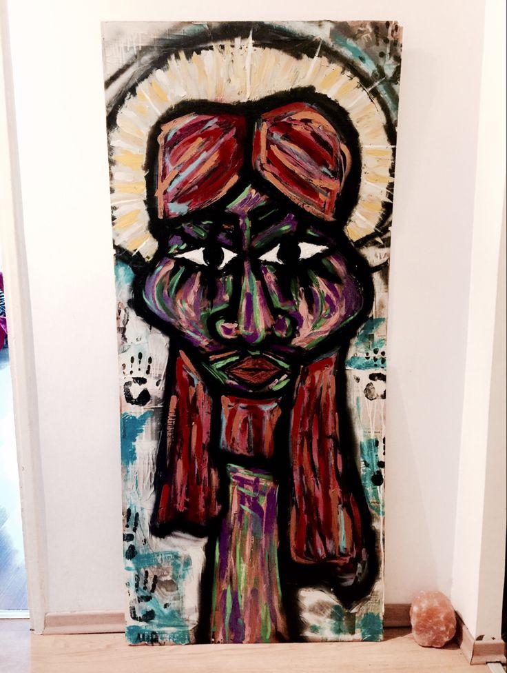 baby marcelo - psychedelic jesus- mixed technique
