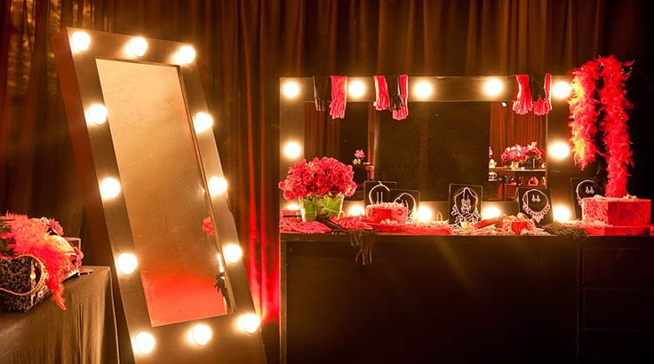 Dressing room for a Moulin Rouge bridal shower.