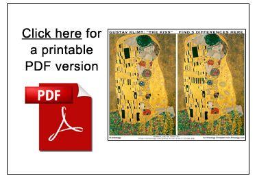 Printable PDF file for the Gustav Klimt Kiss Comparison Game