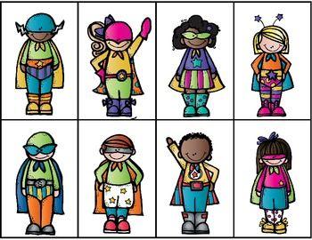 Superhéroes adjetivos.  Los estudiantes leen las descripciones y las aparejan con las ilustraciones.