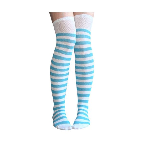 White Blue Striped Thigh Highs (91 BAM) ❤ liked on Polyvore featuring intimates, hosiery, socks, striped over the knee socks, striped thigh high socks, stripe socks, thigh high hosiery and above knee socks