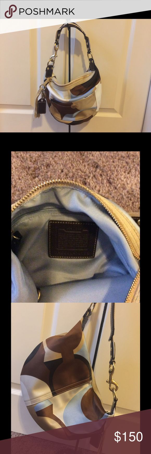 Coach hobo bag. Small hobo tan ,brown and blue pattern. Very good condition Coach Bags Hobos