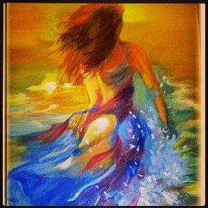 Yağlı boya paint oil deniz kızı