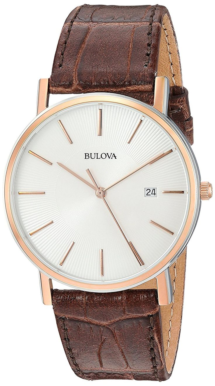 Amazon.com: Bulova Men's 98H51 Stainless Steel Dress Watch With Croco Leather Band: Bulova: Watches