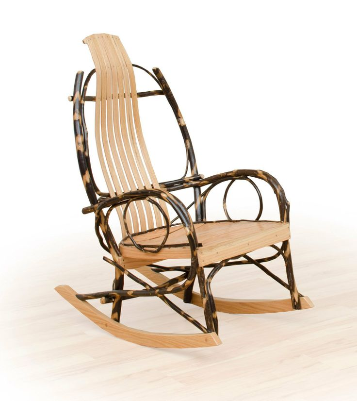 Rustic hickory and oak rocking chair with twig arms. Great Amish ...