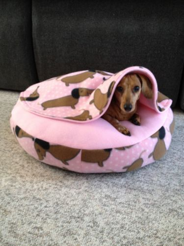 Dachshund Small Dog Bed Snuggle Bed for Burrowing Dog Pink Fleece Doxies | eBay