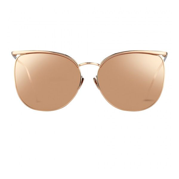 Browline Sunglasses in Rose Gold with a Precious Lens - Linda Farrow (3,590 ILS) ❤ liked on Polyvore featuring accessories, eyewear, sunglasses, uv protection sunglasses, linda farrow sunglasses, lens glasses, linda farrow eyewear and uv protection glasses